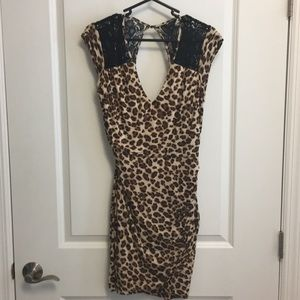 Guess sexy animal print open back dress Size M